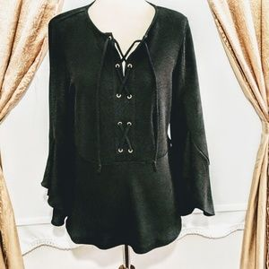 Chicos Black Lace-Up Bell Sleeve Top Small